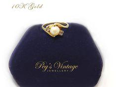 Gorgeous Ladies Vintage 10K Gold Cultured by PegsVintageJewellery, $152.00