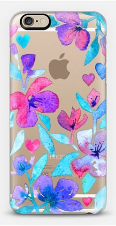 Hearts and Flowers translucent iPhone case for 5 / 5s / 6 / 6s by Micklyn Le Feuvre for Casetify #watercolor