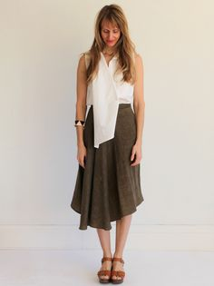 Creatures of Comfort Marni Skirt- Oiled Linen Olive