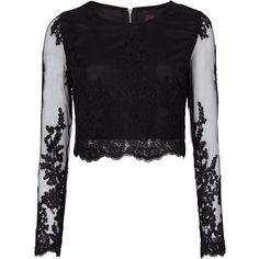 Zibi London Guipure Lace Crop Top ($49) ❤ liked on Polyvore featuring tops, black, women, embroidered lace top, long sleeve lace top, crop top, lacy tops and lace top