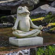 Find your center with the Campania International Mini Zen Frog Cast Stone Garden Statue which provides a calming charm to your garden for years to come. Stone Garden Statues, Frog Statues, Garden Stones, Animal Statues, Meditation Garden, Meditation Corner, Classic Garden, Cast Stone, Yard Art