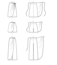 Simplicity Sewing Pattern Misses' Faux Wrap Pants, Skirt & Shorts Sewing Shorts, Sewing Clothes, Diy Clothes, Barbie Clothes, Skirt Patterns Sewing, Simplicity Sewing Patterns, Clothing Patterns, Shirt Patterns, Wrap Pants