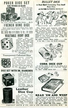 1926 small Print Ad of Novelty Dice poker bullet french bone cork celluloid sets | eBay Fortune Telling Cards, Print Ads, Vintage Advertisements, Dice, Poker, Cork, Bullet, Finding Yourself, French