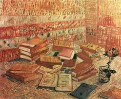 "Vincent van Gogh, Piles of French Novels and Roses in a Glass (""Romans Parisiens""), c. 1887"