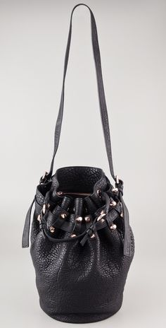 0b0d3728b3e Alexander Wang Diego Bucket Bag with Rose Gold Hardware Pebbled Leather,  Baggage, My Style