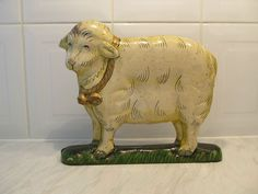 Original Antique Door Stop Lamb With Bell Artist Signed Extremely Rare