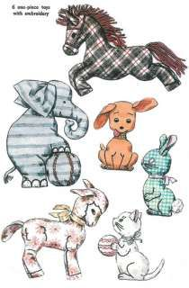 vintage stuffed animal patterns images | VINTAGE 1950s Lot of 6 STUFFED TOY ANIMAL Pattern 4510