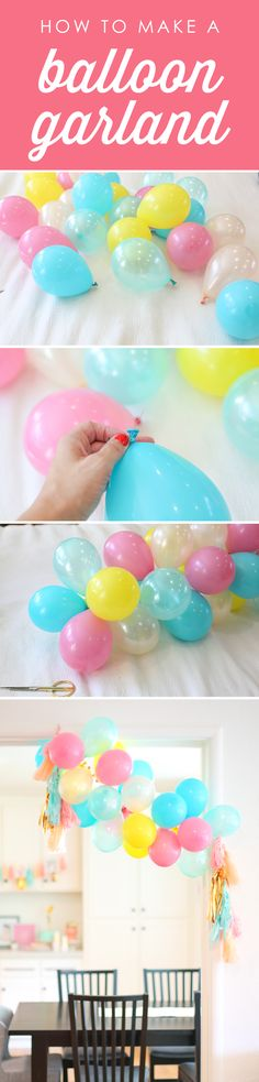 How to make a balloon garland for a birthday party.