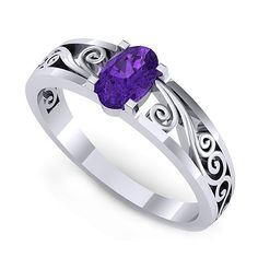 Inel de logodna realizat din aur alb, cu un ametist oval Heart Ring, Sapphire, Aur, Engagement Rings, Jewelry, Jewellery Making, Wedding Rings, Jewerly, Jewelery
