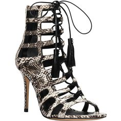 Michael Kors Bardot Snakeskin Caged Heel Sandals ($595) ❤ liked on Polyvore featuring shoes, sandals, natural, leather sandals, snakeskin sandals, leather shoes, snake print sandals and wrap sandals