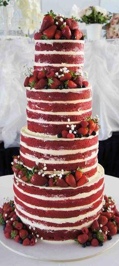 Red velvet naked wedding cake