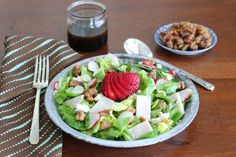 Springtime Strawberry and Turkey Balsamic Greens Salad #client #IBS #FODMAP #lowfodmap
