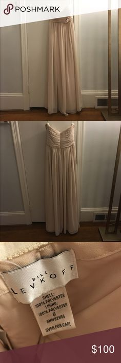 Bill Levkoff champagne chiffon strapless dress. A mint condition bridesmaid dress in a dreamy and elegant champagne color.  It's been worn only once and taken in a smidge.  It's a bit long, but perfect length for heels or to be hemmed to perfection. So classic and perfect for any wedding as a guest or part of the bridal party! Bill Levkoff Dresses Strapless