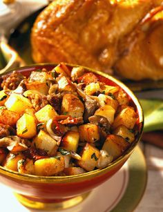 Lemon-Sage Roast Chicken with Sausage-Mushroom-Idaho® Potato Stuffing | Recipe on idahopotato.com #Thanksgiving