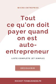 Que doit-on payer quand on est auto-entrepreneur ? Micro Entrepreneur, Business Entrepreneur, Community Manager, Pinterest For Business, Business Advice, New Job, Starting A Business, Good To Know, Tva