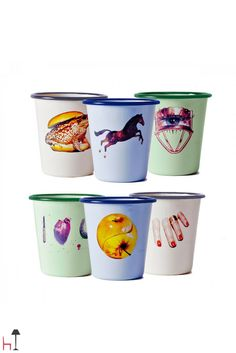 Designed by Seletti Wears Toiletpaper, this set includes 6 drinking glasses made from enamelled metal.