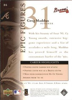 1999 SP Authentic - Epic Figures Greg Maddux Back Cy Young Award, Greg Maddux, Atlanta Braves, Trading Cards, Baseball Cards