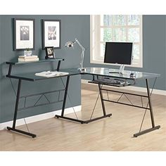 Monarch Specialties L-Shaped Computer Desk with Tempered Glass, Black Metal