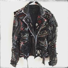 Rocker jacket from Chad Cherry Clothing. Punk Rock jacket. Heavy Metal jacket. Studded jacket. Vegan leather jacket.