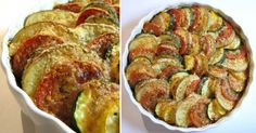 Make it vegan with vegan Parmesan cheese! Vegetable Tian - a beautiful side dish with potatoes, tomatoes, yellow squash, zucchini, caramelized onions and garlic. Vegetable Recipes, Vegetarian Recipes, Cooking Recipes, Healthy Recipes, Vegan Vegetarian, Cooking Tips, Potato Side Dishes, Vegetable Side Dishes, I Love Food