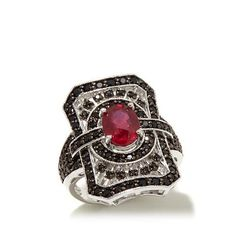 Colleen Lopez Ruby & Black Spinel Sterling Silver Ring