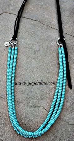 Save 10% on your order at www.gugonline.com by using the discount code GUGREPKCAR! Three Stranded Turquoise Necklace with Black Leather