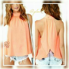 """*summer sale* Just peachy halter Breezy and beautiful in this sheer sleeveless summer top. It buttons around the neck in the back and is open, the only thing attached at the back is the button. The length from the top of the collar to the bottom hem is 24"""". The neck measures 17 3/4...aside from that the remainder is flowy and could fit a small- medium, the material is chiffon/sheer so cute over a halter cami Salty Grace  Tops"""