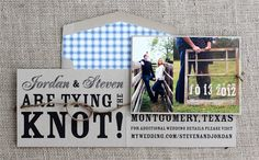 twine knot photo save the date with plaid liner