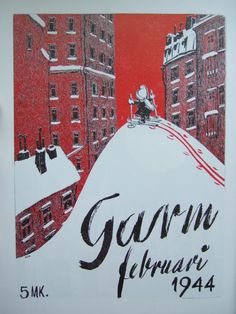 Tove Jansson's cover for the February issue of Garm in 1944. There was a lot of snow in Helsinki during the last winter of the Continuation War, so one was able to ski.