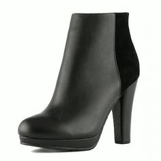 Elaine Turner Shara Bootie with Black Kid and Suede Leather #boot #heel #fall