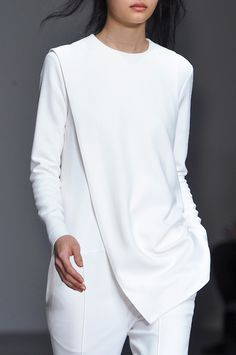 White Jumpsuit with draped panel; minimalist fashion details // Eudon Choi Fall 2014