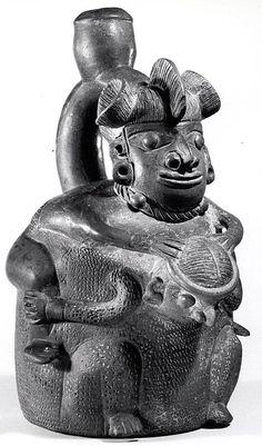 Stirrup-Spout Bottle: Two Figures Date: 12th–5th century BCE Geography: Peru Culture: Cupisnique Medium: Ceramic