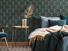 Go back to the swinging thanks to from our Art Déco products! Created by Papermint, new wall decoration brand from Paris. Decor, Interior, Small Space Interior Design, Green Rooms, Art Deco Interior Design, Bedroom Green, Home Decor, Art Deco Bedroom, Interior Deco