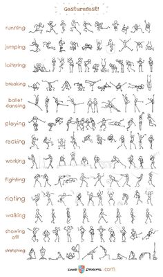 Stick figure gesture chart. More