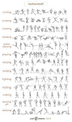 Stick figure gesture chart.