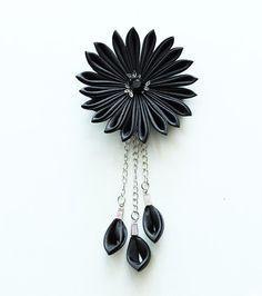 Black Kanzashi flower hair clip - Wedding hair accessories