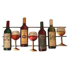 Metal wall decor featuring a wine bottle and stemware design. Product: Wall decor Construction Material: Metal Color: MultiDimensions: H x W x D Metal Wall Decor, Metal Wall Art, Wine Bottle Glasses, Wine Bottles, Wine Decor, Vintage Wine, Wine And Beer, Wine Making, Wine Cellar