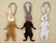 Chenille Bunny Ornaments by oldworldprimitives, via Flickr