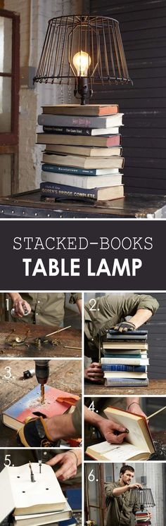 Stacked Vintage Books Table Lamp
