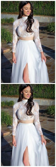 Two Piece High Neck Lace Crop Long White Prom Dress with Slit by olesaweddingdresses, $132.28 USD Classy Prom Dresses, A Line Prom Dresses, Prom Party Dresses, Dresses For Teens, Homecoming Dresses, Sexy Dresses, Evening Dresses, Fashion Dresses, Slit Dress