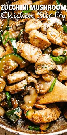 This easy Zucchini Mushroom Chicken Stir Fry recipe is bursting with flavor in each and every bite! All you need is one skillet, 20 minutes, and just a handful of pantry ingredients. recipes for two recipes fry recipes Easy Zucchini Recipes, Vegetable Recipes, Healthy Recipes, Healthy Mushroom Recipes, Chicken Zucchini Bake, Keto Chicken, Baked Chicken, Stuffed Zucchini Recipes, Dinner Ideas