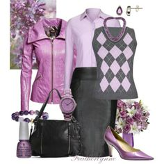 """""""Back to School in Lilac and Leather"""" by featherlynne on Polyvore"""