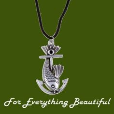 Fish Anchor Nautical Themed Wax Cord Stylish Pewter Pendant