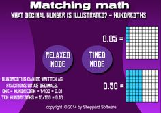 Math Games: Decimals Hundredths - Matching Decimal Number, Addition Games, Integers, Place Values, Fractions, Math Games, Writing, Learning, Studying