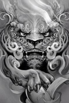 """""""Foo dog"""" Artwork by Elvintattoo Head Tattoos, Body Art Tattoos, Sleeve Tattoos, Japanese Tattoo Art, Japanese Tattoo Designs, Foo Dog Tattoo Design, Japanese Foo Dog, Hannya Tattoo, Fu Dog"""