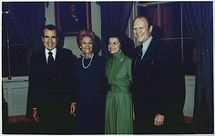 Photograph of President Richard M. Nixon and First Lady Pat Nixon with Representative Gerald R. Ford and Betty Ford in the Blue Room of the White House, Following the Nomination of Gerald Ford as Vice President, 10/13/1973 Presidents Wives, Republican Presidents, American Presidents, Nelson Rockefeller, Betty Ford, Pledge Of Allegiance, King Jr, Vice President, Photograph