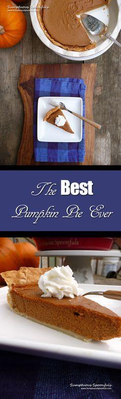 The BEST Pumpkin Pie Ever ~ Sumptuous Spoonfuls #pumpkin #pie #recipe