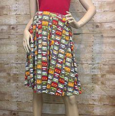 NEW LULAROE LLR S Madison Pocket Skirt Cassette Tapes 80s Green Yellow Unicorn  | eBay