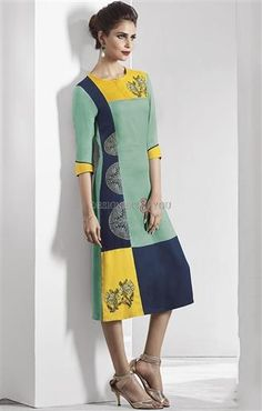 image of Glamorous Natural Green-Yellow Latest Fancy Long Kurti for Legging