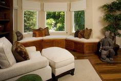 Asian Master Bedroom with Bay window, Built-in bookshelf, interior wallpaper, Basic Solid Roman Shades, Window seat